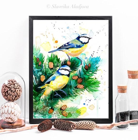 Eurasian blue tit watercolor framed canvas by Slaveika Aladjova, Limited edition, art, animal watercolor, bird art, wall art, art print