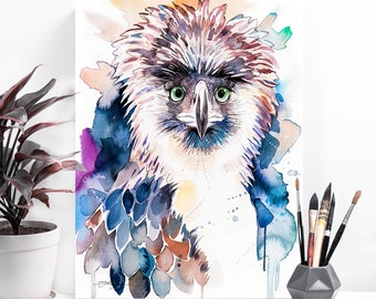Philippine Eagle watercolor painting print by Slaveika Aladjova, art, animal, illustration, bird, home decor, wall art, Monkey-eating eagle
