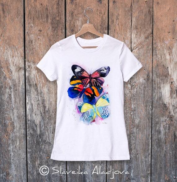 Butterflies watercolor ladies' T-shirt, women's tees, Teen Clothing, Girls' Clothing, ring spun Cotton 100%, watercolor print
