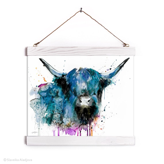 Black Highland Cow Cattle Watercolor Painting Framed, Wall Hanging print, Animal, Home Decor, Wall Art, Illustration, Ready to Hang,