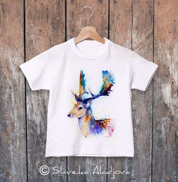 Fallow deer watercolor kids T-shirt, Boys' Clothing, Girls' Clothing, ring spun Cotton 100%, watercolor print T-shirt,T shirt art