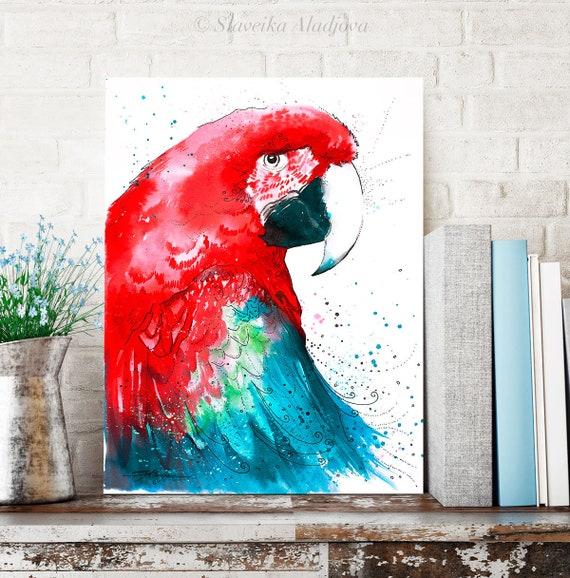 Green-winged macaw Parrot watercolor painting print by Slaveika Aladjova, art, animal, illustration, bird, home decor, wall art, Wildlife