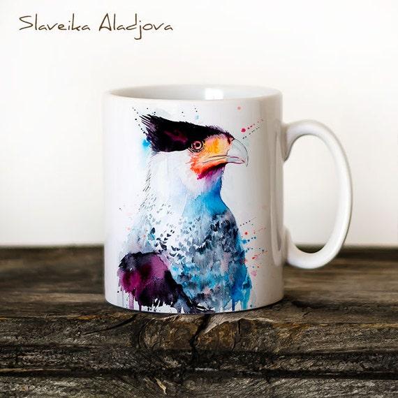 Northern Crested Caracara Mug Watercolor Ceramic Mug Unique Gift Coffee Mug Animal Mug Tea Cup Art Illustration Cool Kitchen Art Printed mug