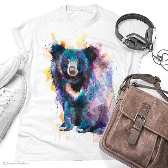 Sloth bear T-shirt, Unisex T-shirt, ring spun Cotton 100%, watercolor T-shirt, T shirt art, T shirt animal, XS, S, M, L, XL, XXL