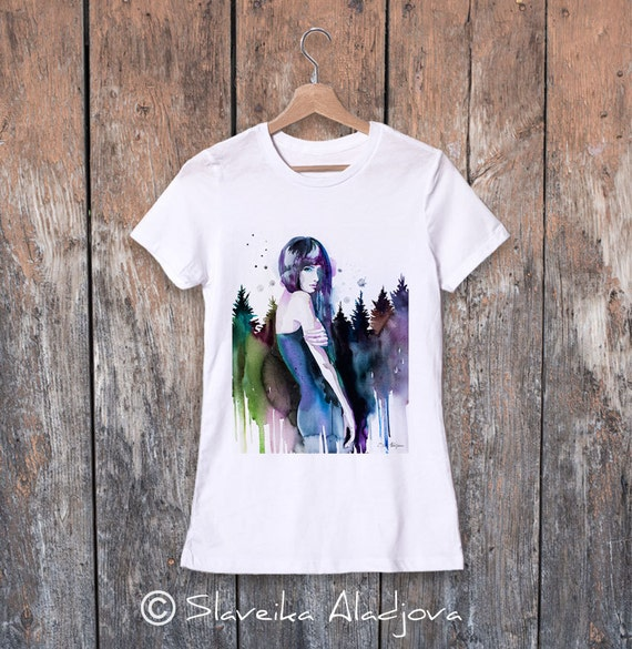 Forest girl watercolor ladies' T-shirt, women's tees, Teen Clothing, Girls' Clothing, ring spun Cotton 100%, watercolor print