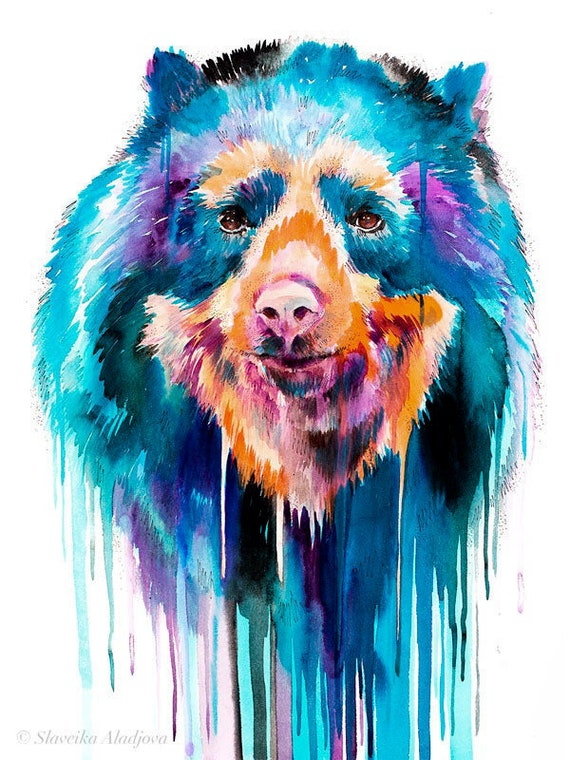 Original Watercolour Painting- Spectacled bear art, animal, illustration, animal watercolor, animals paintings, animals, portrait,