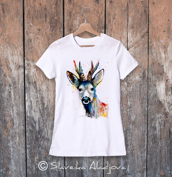 Deer watercolor ladies' T-shirt, women's tees, Teen Clothing, Girls' Clothing, ring spun Cotton 100%, watercolor print