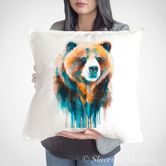Grizzly bear throw pillow cover by Slaveika Aladjova, cushion cover, Decorative Pillow Cover, Animal Art, Watercolor pillow, Christmas gift