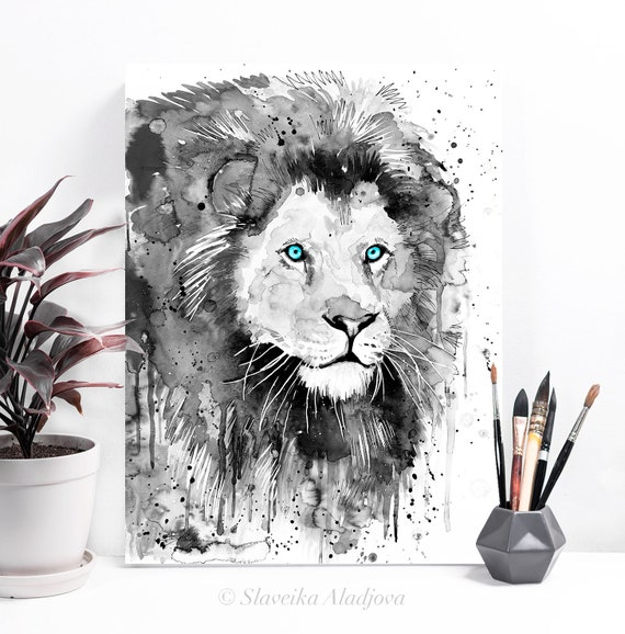 Black and white Lion watercolor painting print by Slaveika Aladjova, art, animal, illustration, home decor, Nursery, gift, Wildlife,wall art