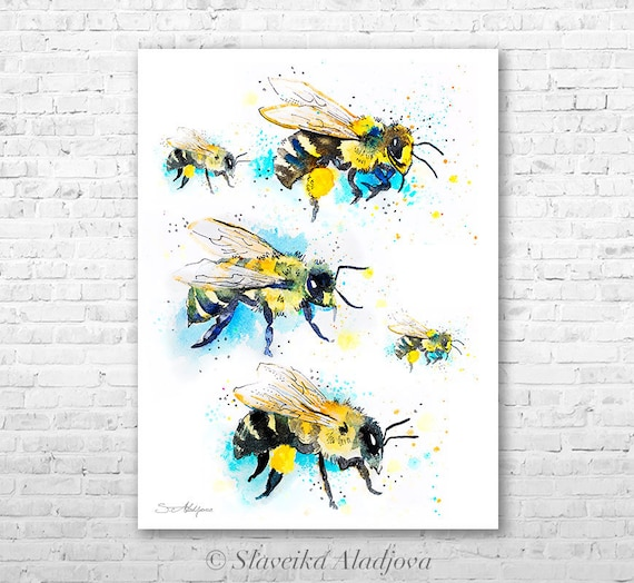 Bees 2 watercolor painting print by Slaveika Aladjova, art, animal, illustration, home decor, Nursery, gift, Wildlife, wall art