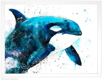 Orca watercolor painting print by Slaveika Aladjova, art, animal, illustration, Sea art, sea life art, home decor, Wall art