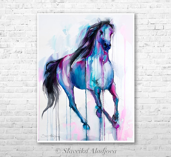 Magical Horse watercolor painting print by Slaveika Aladjova, art, animal, illustration, bird, home decor, wall art, gift, farm, portrait