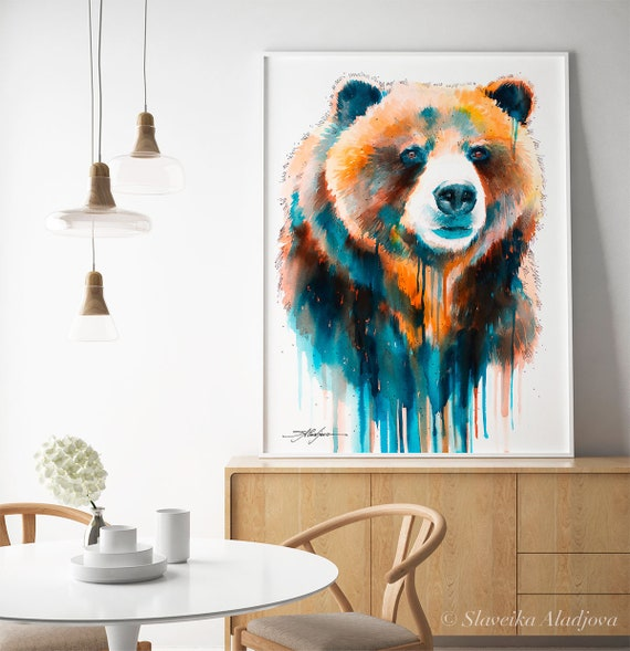 Animal Gift Inspirational Wildlife ART PRINT Grizzly bear Quote Wall Art