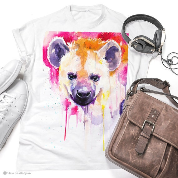 Hyena T-shirt, Unisex T-shirt with Hyena print, Men's tees, Hyena Lover Gift, watercolor print tee, ring spun Cotton 100%, Colourful print