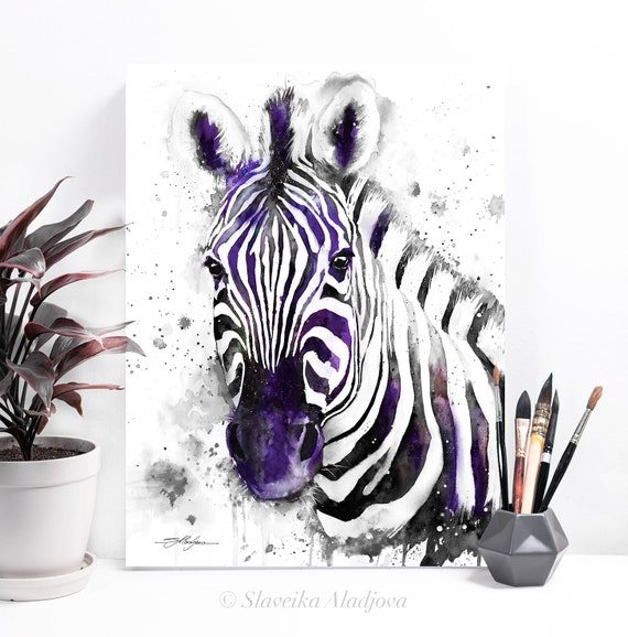 Black and white Zebra watercolor painting print by Slaveika Aladjova, horse, illustration, home decor, nursery, gift, wildlife, wall art
