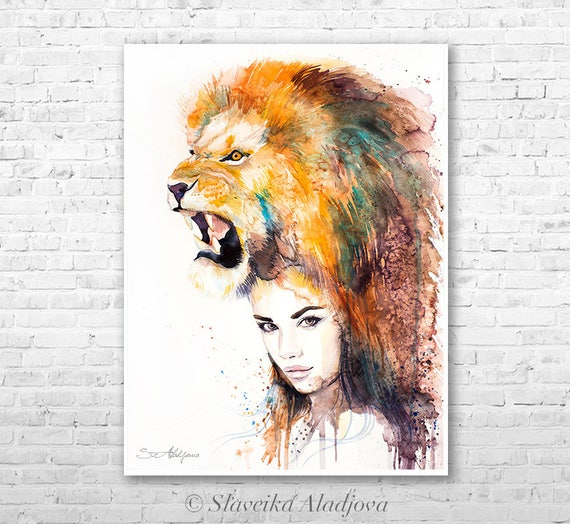 Lion Girl watercolor painting print by Slaveika Aladjova, Fashion Illustration, Woman art, Illustration, watercolour, wall art, home decor