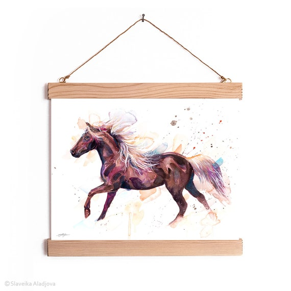 Rocky Mountain Horse Watercolor Painting Framed, Wall Hanging print, Home Decor, Wall Art, Illustration, Ready to Hang, Framed, Nursery