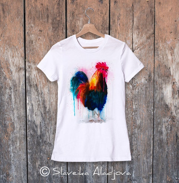 Rooster watercolor ladies' T-shirt, women's tees, Teen Clothing, Girls' Clothing, ring spun Cotton 100%, watercolor print