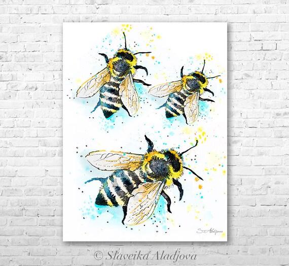 Bees watercolor painting print by Slaveika Aladjova, art, animal, illustration, home decor, Nursery, gift, Wildlife, wall art