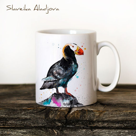 Tufted puffin Mug Watercolor Ceramic Mug Unique Gift Coffee Mug Animal Mug Tea Cup Art Illustration Cool Kitchen Art Printed