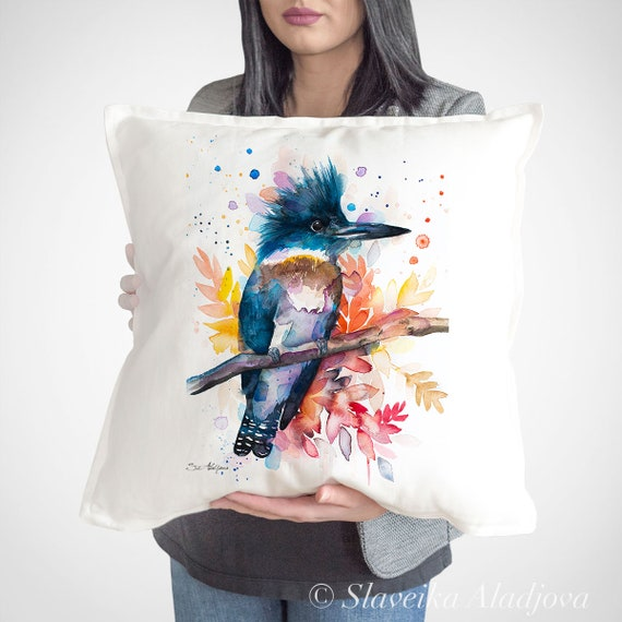 Belted kingfisher throw pillow cover by Slaveika Aladjova, cushion cover, Decorative Pillow Cover, Animal Art, Watercolor pillow, gift