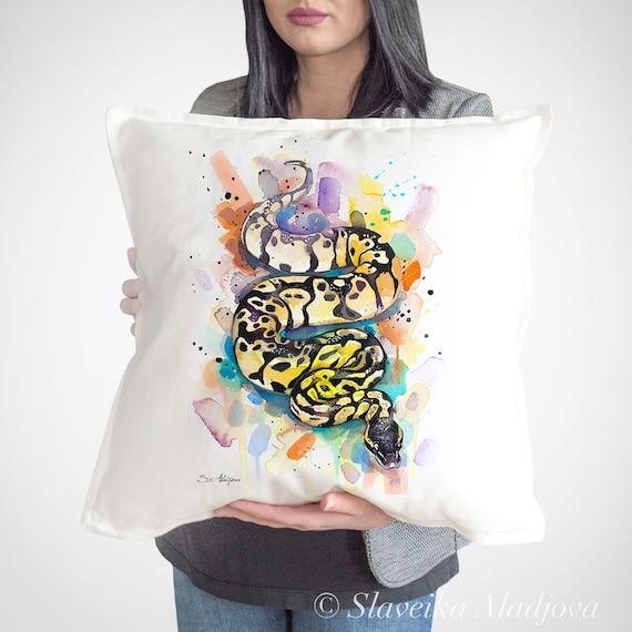 Pastel Ball Python throw pillow cover by Slaveika Aladjova, cushion cover, Decorative Pillow Cover, Animal Art, Watercolor pillow, gift