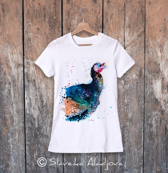 Turkey bird watercolor ladies' T-shirt, women's tees, Teen Clothing, Girls' Clothing, ring spun Cotton 100%, watercolor print