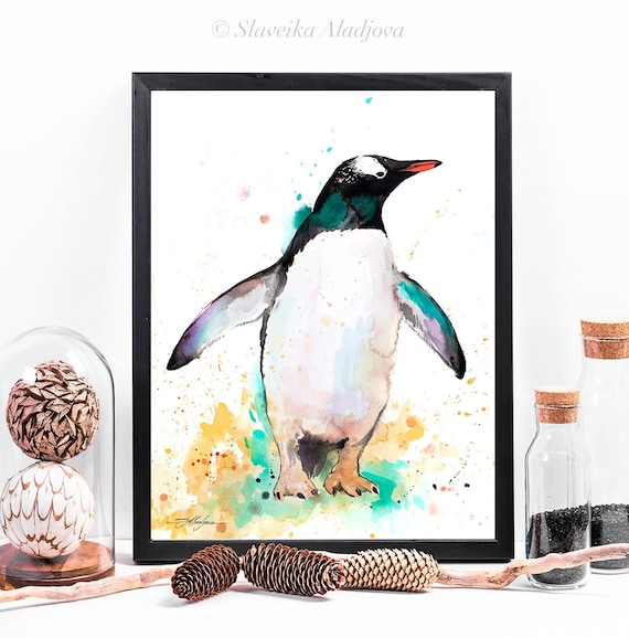 Gentoo penguin watercolor framed canvas by Slaveika Aladjova, Limited edition, art, animal watercolor, animal illustration, bird art