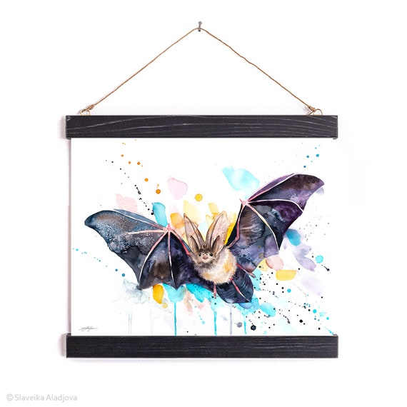 Townsend's big-eared bat Watercolor Painting Framed, Wall Hanging print, Animal, Home Decor, Wall Art, Illustration, Ready to Hang,