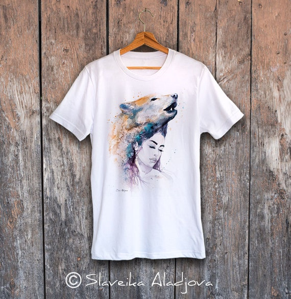 Wolf Girl T-shirt, Unisex T-shirt, ring spun Cotton 100%, watercolor print T-shirt, T shirt art, T shirt animal,XS, S, M, L, XL, XXL