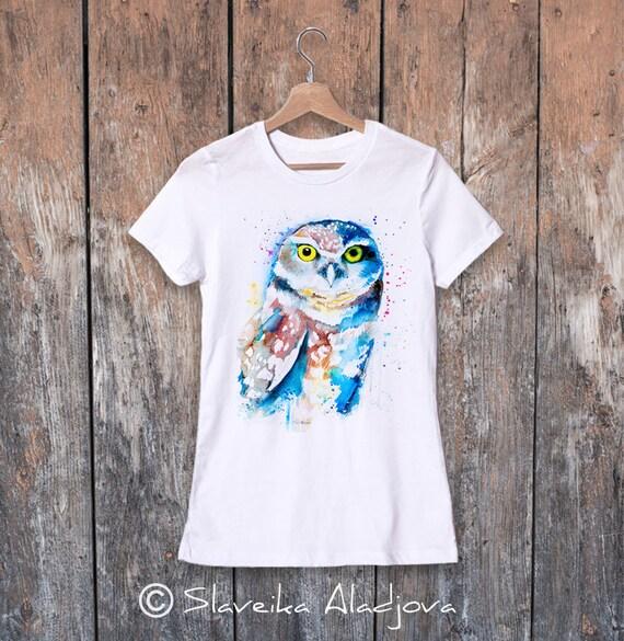 Burrowing owl  watercolor ladies' T-shirt, women's tees, Teen Clothing, Girls' Clothing, ring spun Cotton 100%, watercolor print