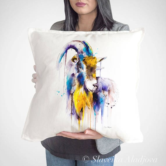 Goat 4 throw pillow cover by Slaveika Aladjova, cushion cover, Decorative Pillow Cover, Animal Art, Watercolor pillow,Christmas gift