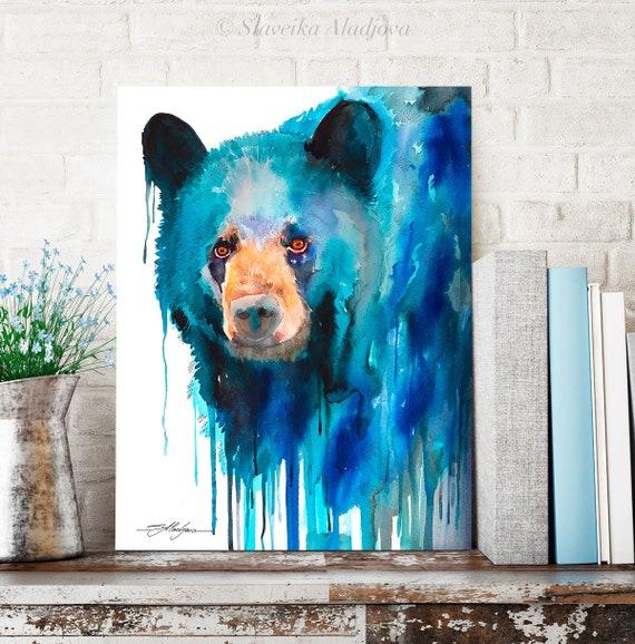 Blue American black bear watercolor painting print by Slaveika Aladjova, art, animal, illustration, home decor, Nursery, Wildlife, wall art