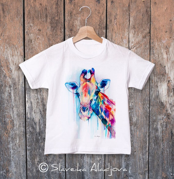 Giraffe watercolor kids T-shirt, Boys' Clothing, Girls' Clothing, ring spun Cotton 100%, watercolor print T-shirt, T shirt art