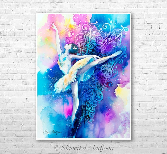 Ballerina 2 watercolor painting print by Slaveika Aladjova, Fashion Illustration, Woman art, Illustration, watercolour, wall art, home decor
