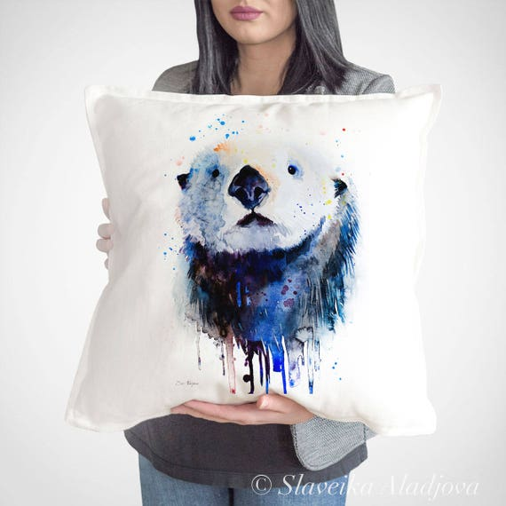 Sea Otter throw pillow cover by Slaveika Aladjova, cushion cover, Decorative Pillow Cover, Animal Art, Watercolor pillow, Christmas