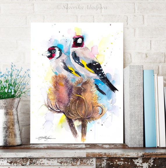 Goldfinch watercolor painting print by Slaveika Aladjova, art, animal, illustration, bird, home decor, wall art, gift, portrait, Flower