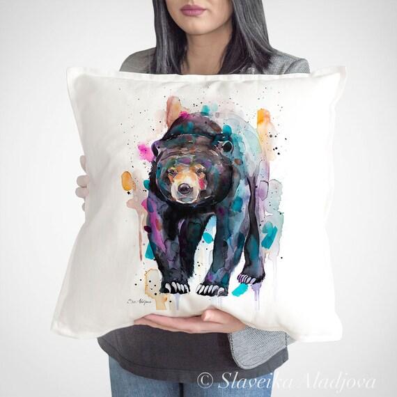 Sun bear, Honey bear throw pillow cover by Slaveika Aladjova, cushion cover, Decorative Pillow Cover, Animal Art, Watercolor pillow, gift