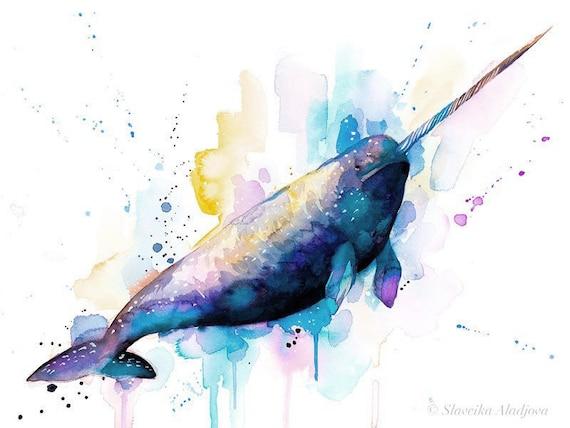 Original Watercolour Painting- Narwhal art, animal, illustration, animal watercolor, animals paintings, animals, portrait,