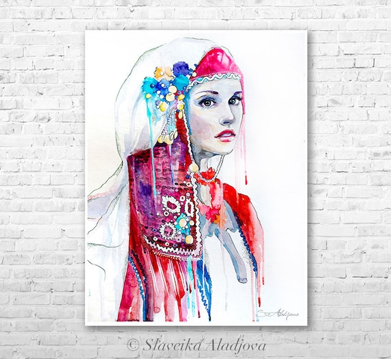Fashion Illustration watercolor painting print by Slaveika Aladjova, Woman art, Girl Illustration, Bulgarian national costume, wall art