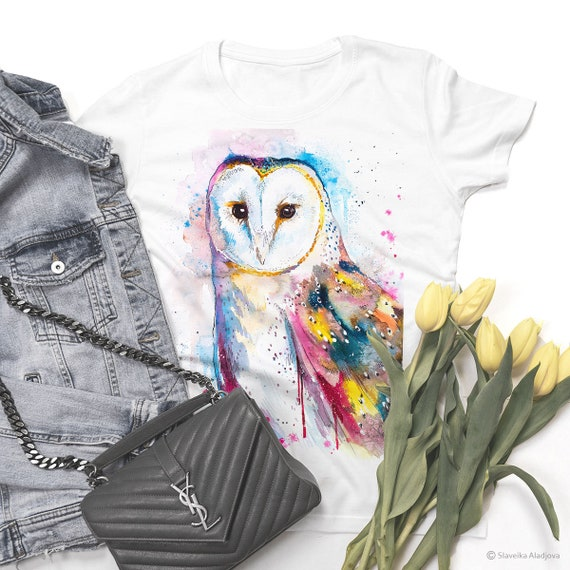 Barn owl  T-shirt, Unisex T-shirt, ring spun Cotton 100%, watercolor print T-shirt, T shirt art, T shirt animal,XS, S, M, L, XL, XXL