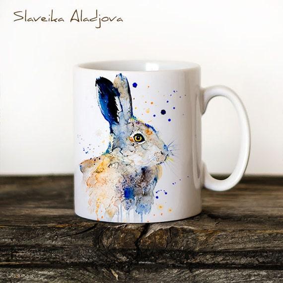 Hare Rabbit Mug Watercolor Ceramic Mug Unique Gift Coffee Mug Animal Mug Tea Cup Art Illustration Cool Kitchen Art Printed mug