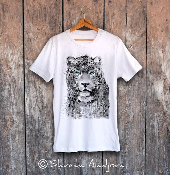 Panther Leopard T-shirt, Unisex T-shirt, ring spun Cotton 100%, watercolor print T-shirt, T shirt art, T shirt animal,XS, S, M, L, XL, XXL