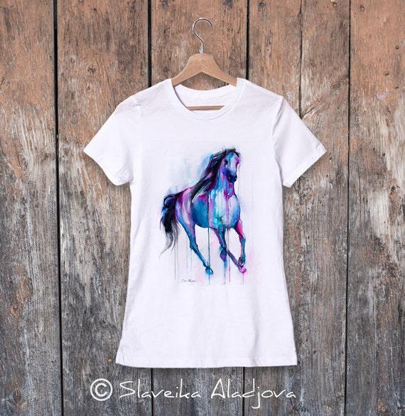 Horse watercolor ladies' T-shirt, women's tees, Teen Clothing, Girls' Clothing, ring spun Cotton 100%, watercolor print T-shirt,art