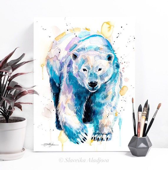 Polar bear watercolor painting print by Slaveika Aladjova, art, animal, illustration, home decor, Nursery, gift, Wildlife, wall art
