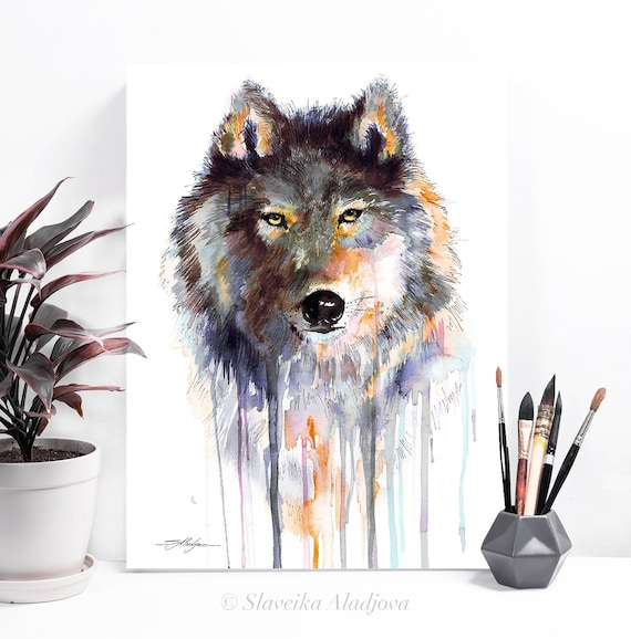 Grey wolf watercolor painting print by Slaveika Aladjova, art, animal, illustration, home decor, Nursery, gift, Wildlife, wall art