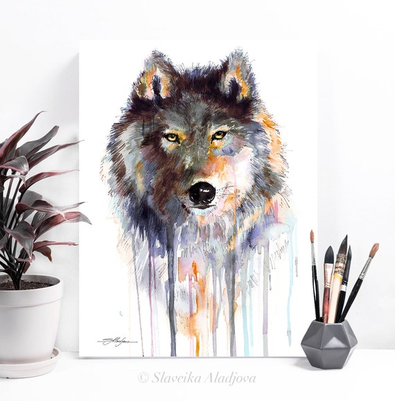 Grey wolf watercolor painting print by Slaveika Aladjova, art, animal, illustration, home decor, Nursery, gift, Wildlife, wall art