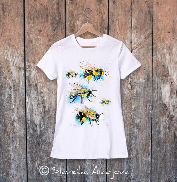 Bees 2 watercolor ladies' T-shirt, women's tees, Teen Clothing, Girls' Clothing, ring spun Cotton 100%, watercolor print