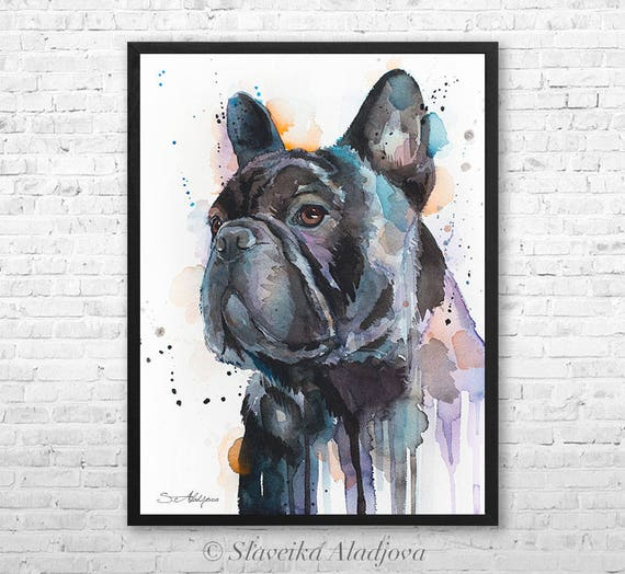 Frenchie watercolor framed canvas by Slaveika Aladjova, Limited edition, art, animal watercolor, animal illustration, art
