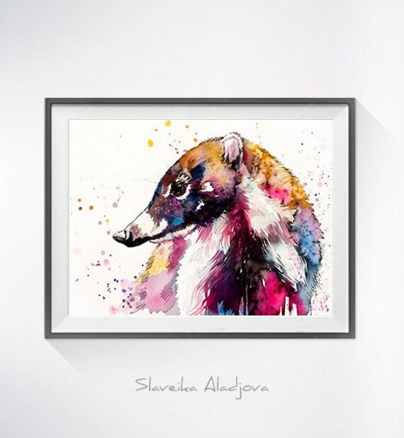 Original Watercolour Painting- Coati art, animal, illustration, animal watercolor, animals paintings, animals, portrait,